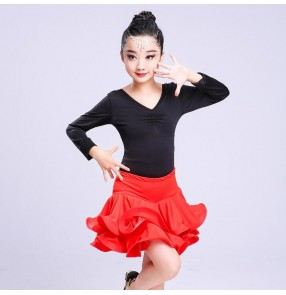 Kids latin dresses lace  tops and ruffles skirts competition stage performance professional costumes